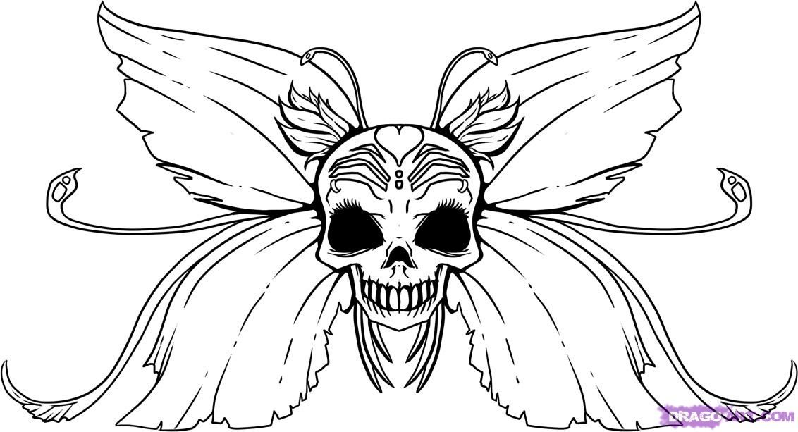 Dark Fairy Coloring Pages | How to Draw a Skull Fairy, Step by Step ...