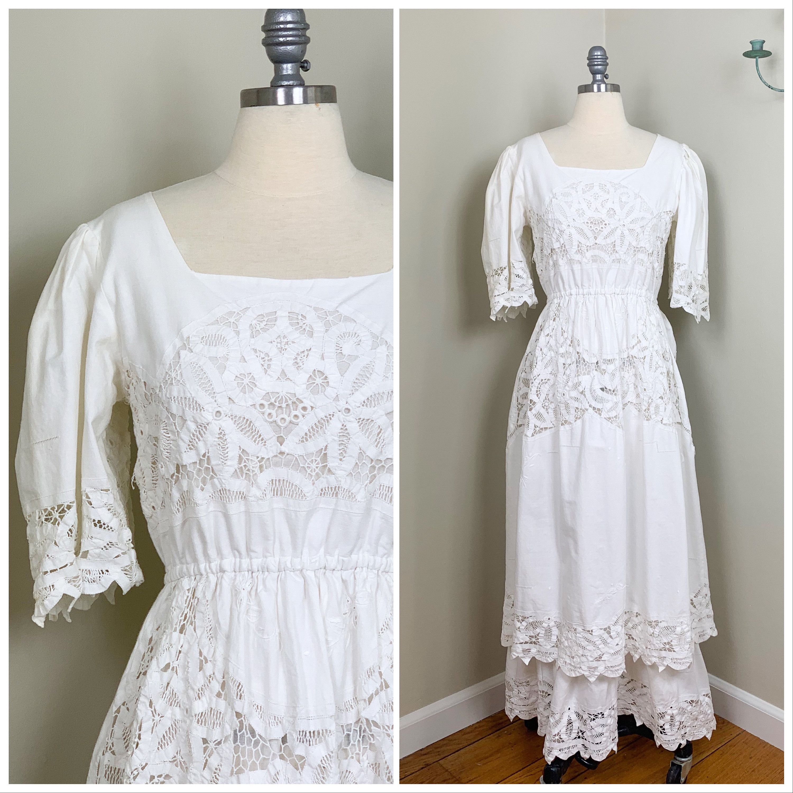 1980s english lace vintage wedding dress tiered cotton