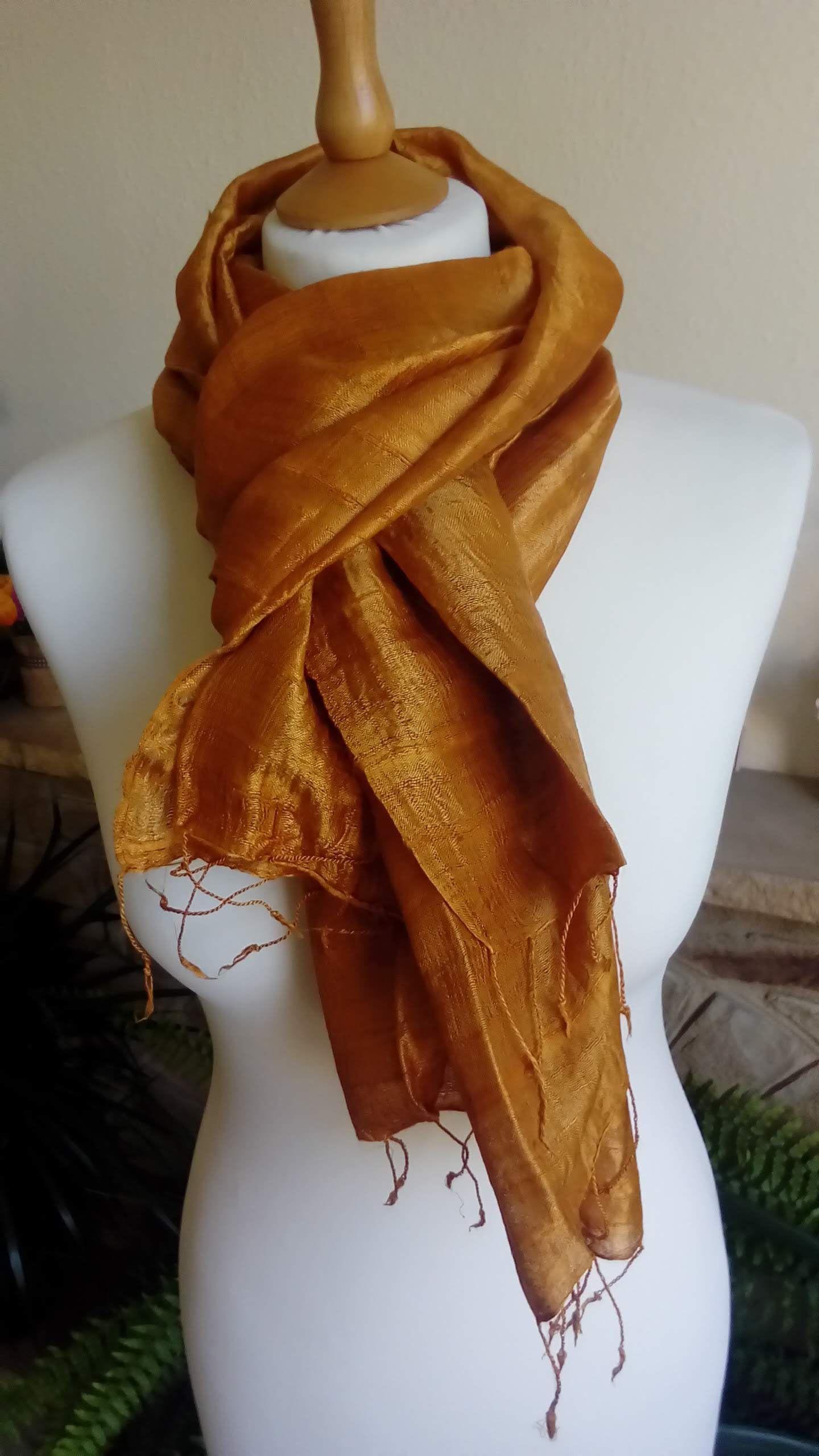 Large Hand Loomed 100 Pure Raw Thai Esan Eri Silk Scarf In Etsy In 2020 Silk Scarf Mulberry Silk Raw Silk