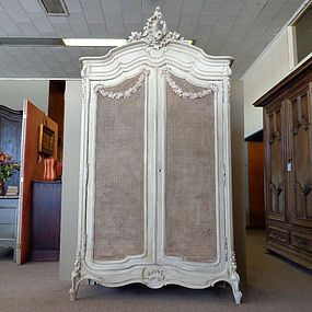 19th Century French Rococo Caned Armoire