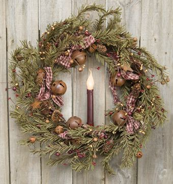rustic holiday pine center christmas wreath with bells gingham fabric bows