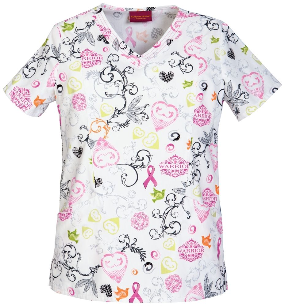 81db688ceb7 Scrubs - Cherokee Warriors In Pink Heart Of A Warrior Scrub Top, Breast  Cancer Awareness Ribbon