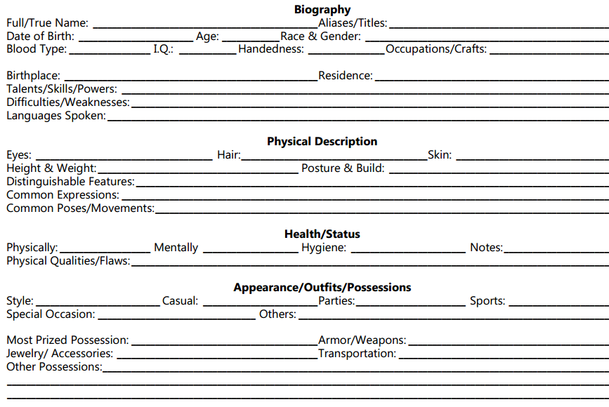 character bible for film template