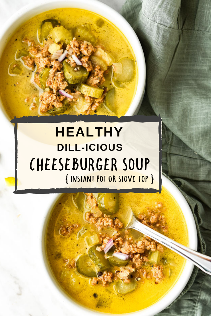 Healthy Dill-icious Cheeseburger Soup is my lightened up, Instant Pot version of cheeseburger soup. The dill pickles are definitely the co-star here. Haven't done pickles in your soup yet? Just trust me and thank me later.