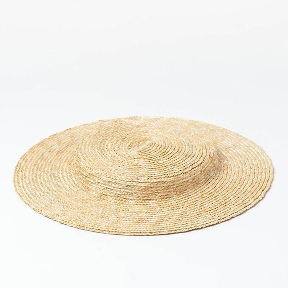 Light Flat Top Fine Straw Straw Hat With Elegant And Elegant Etsy In 2021 Straw Hat Retro Hats Hats