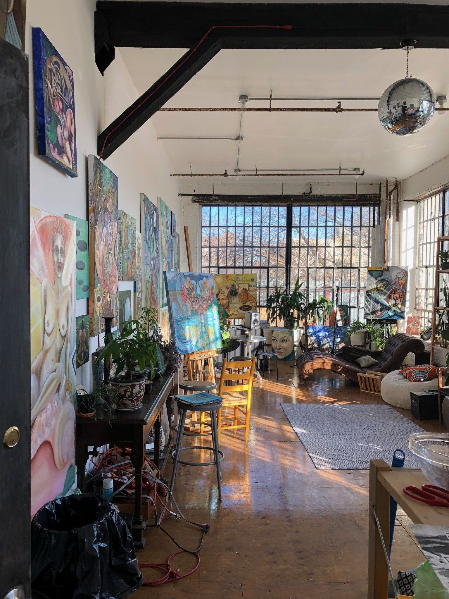 Beautiful large sunny artist's loft with 2 walls of industrial windows, Brooklyn, NY | Production | Peerspace