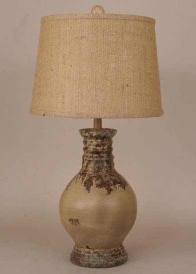 Rustic Relic Accent Lamp Western Lamps - Complete your rustic room with charming accent lamp finished in vintage relic topped with rustic burlap shade. Made in the USA.