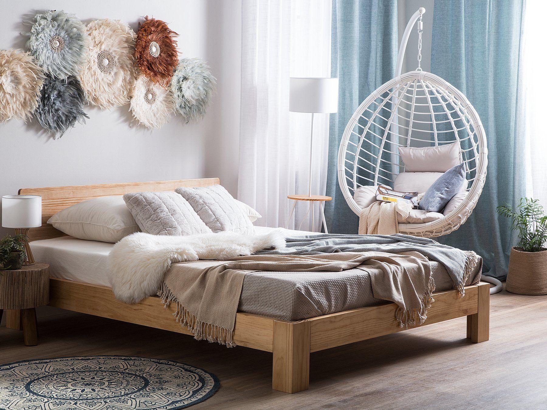 Holzbett Heller Holzfarbton Lattenrost 160 X 200 Cm Royan Bett