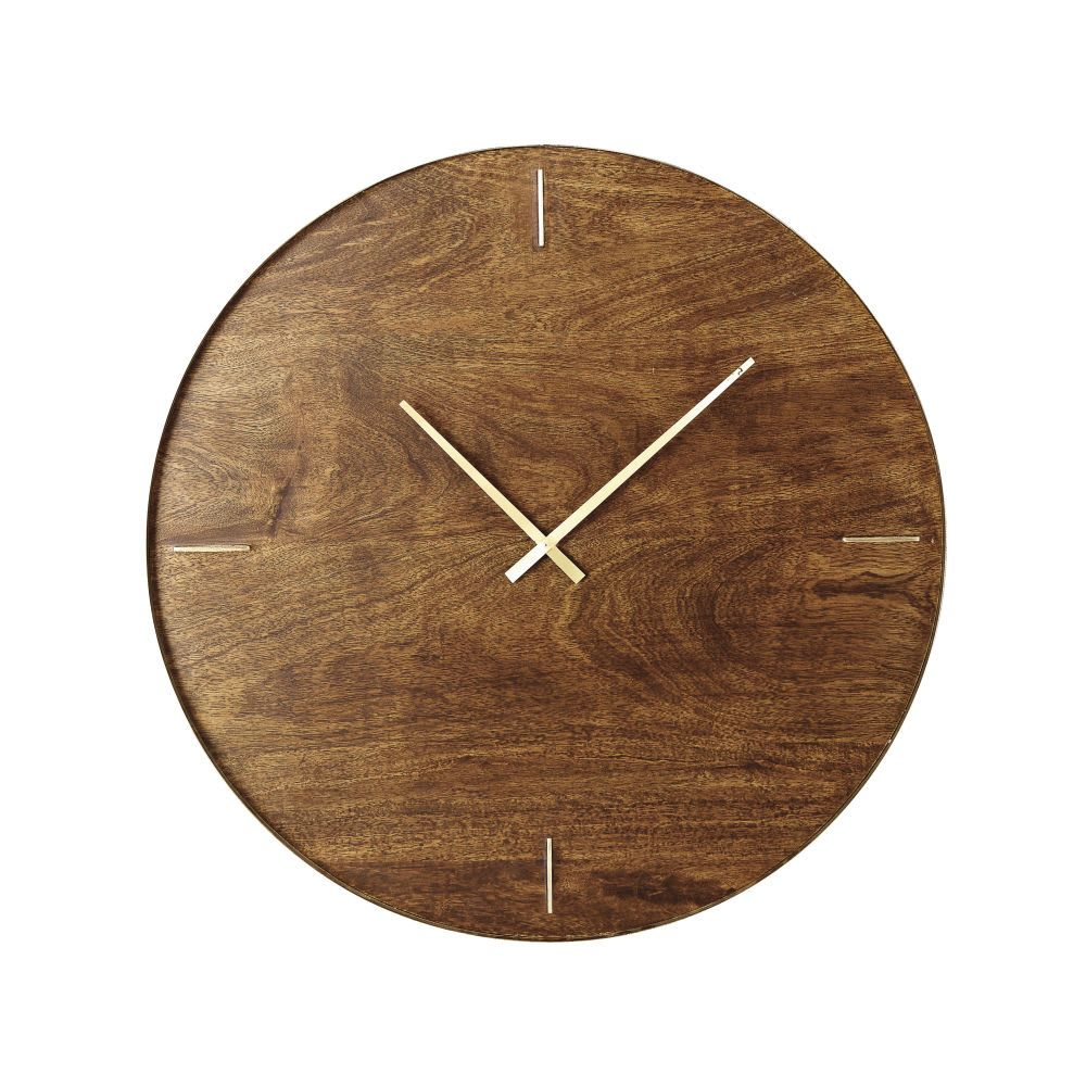 Mango Wood And Gold Metal Clock D81 Preston Metal Clock Clock Maisons Du Monde