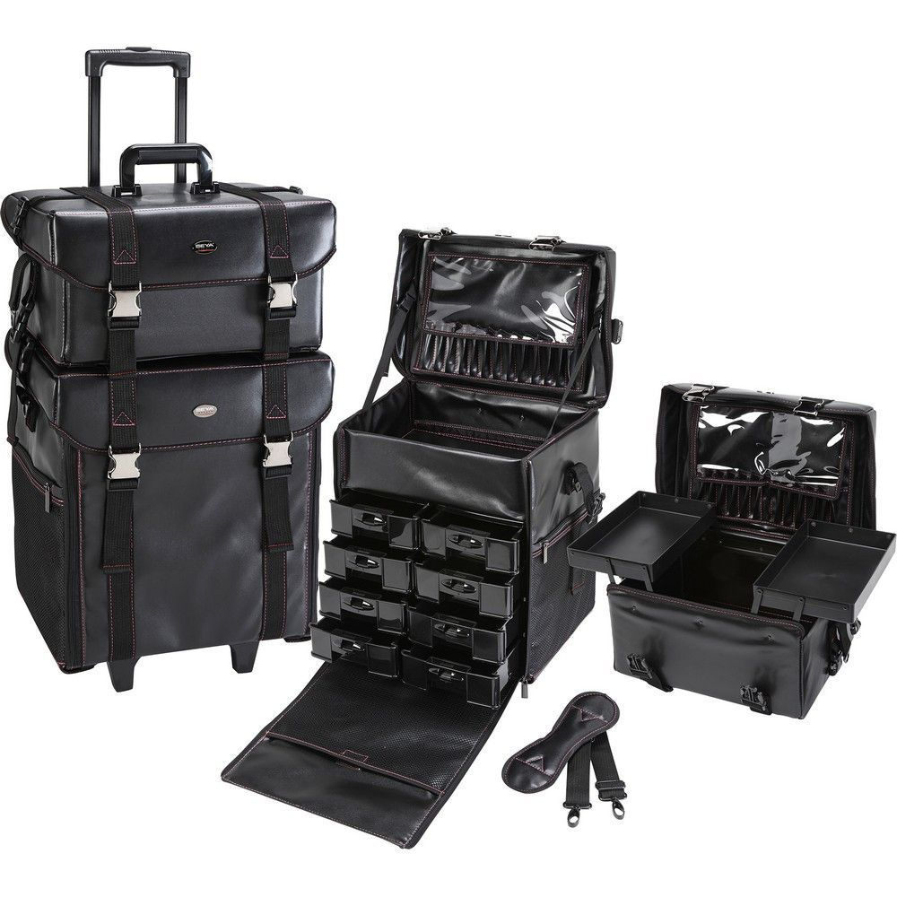 2 in 1 Professional Rolling Makeup Case Set with Drawers 2