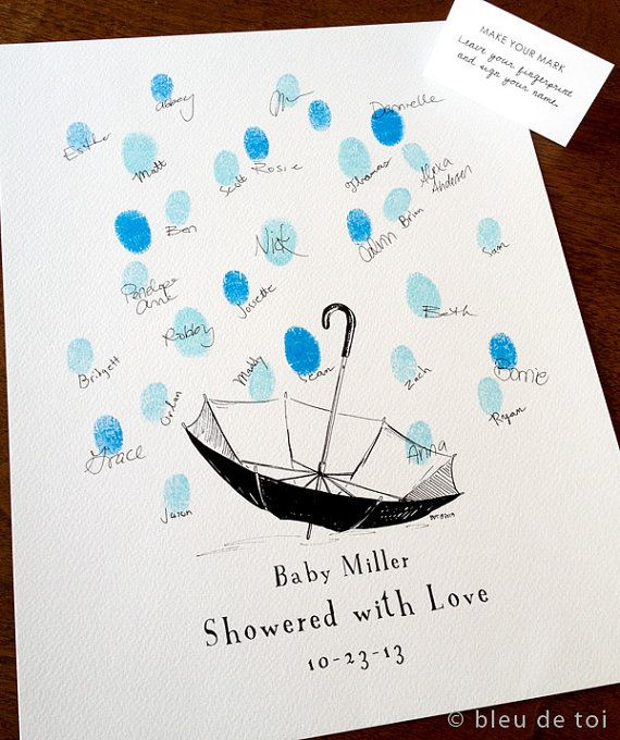 Showered With Love Unique Baby Shower Ideas Thumbprint Etsy