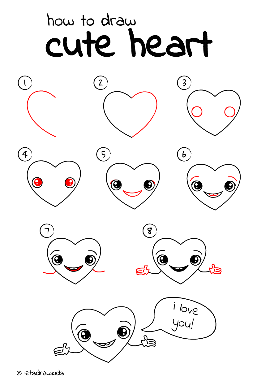 How To Draw Cute Heart Easy Drawing Step By Step Perfect For