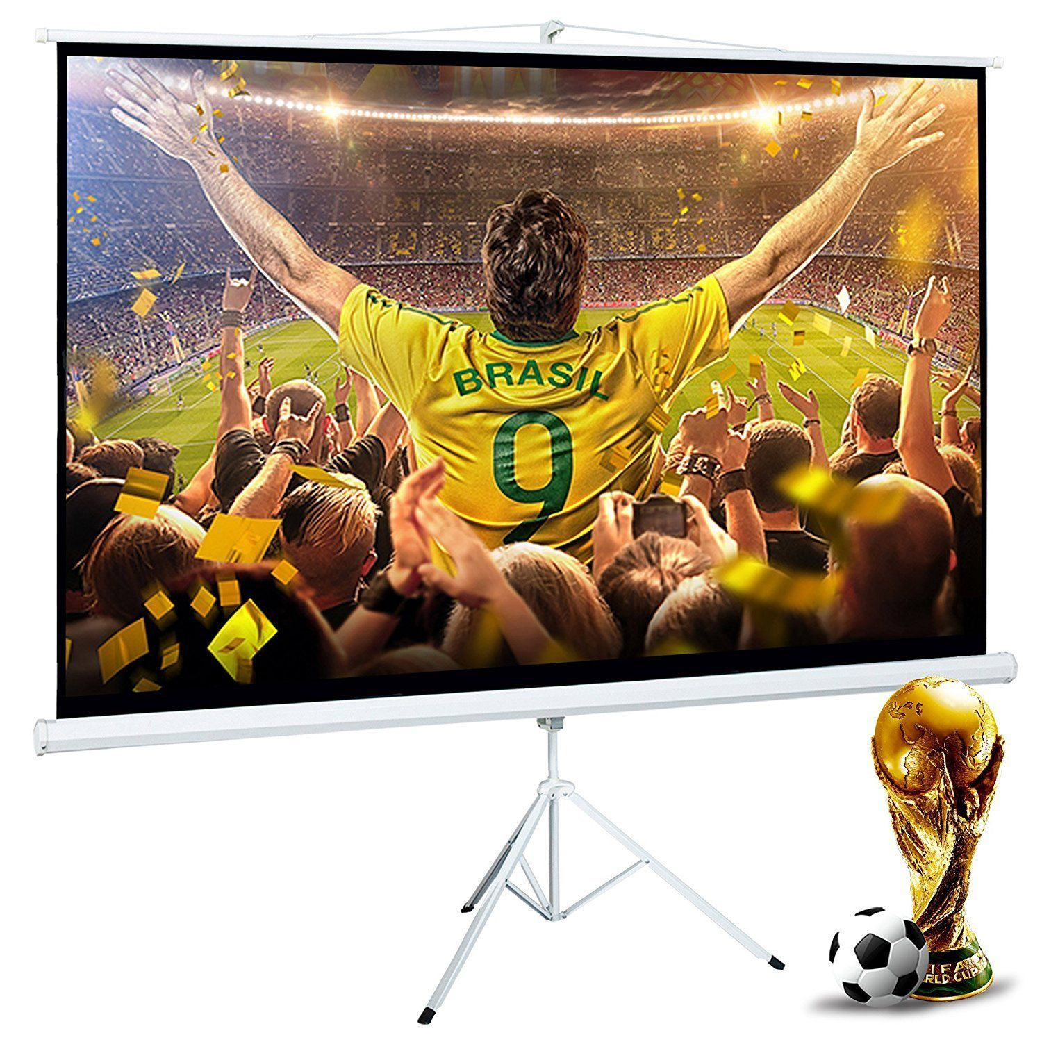 39 99 Cloud Mountain 100 Inch 16 9 Projector Screen With Stand Portable Indoor Outdoor Pull Up Tripod Stand Projection Projector Screen Stand Portable Projector Screen Projection Screen