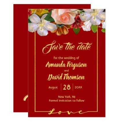 Save The Date Red Background Pink White Flowers Gold Wedding