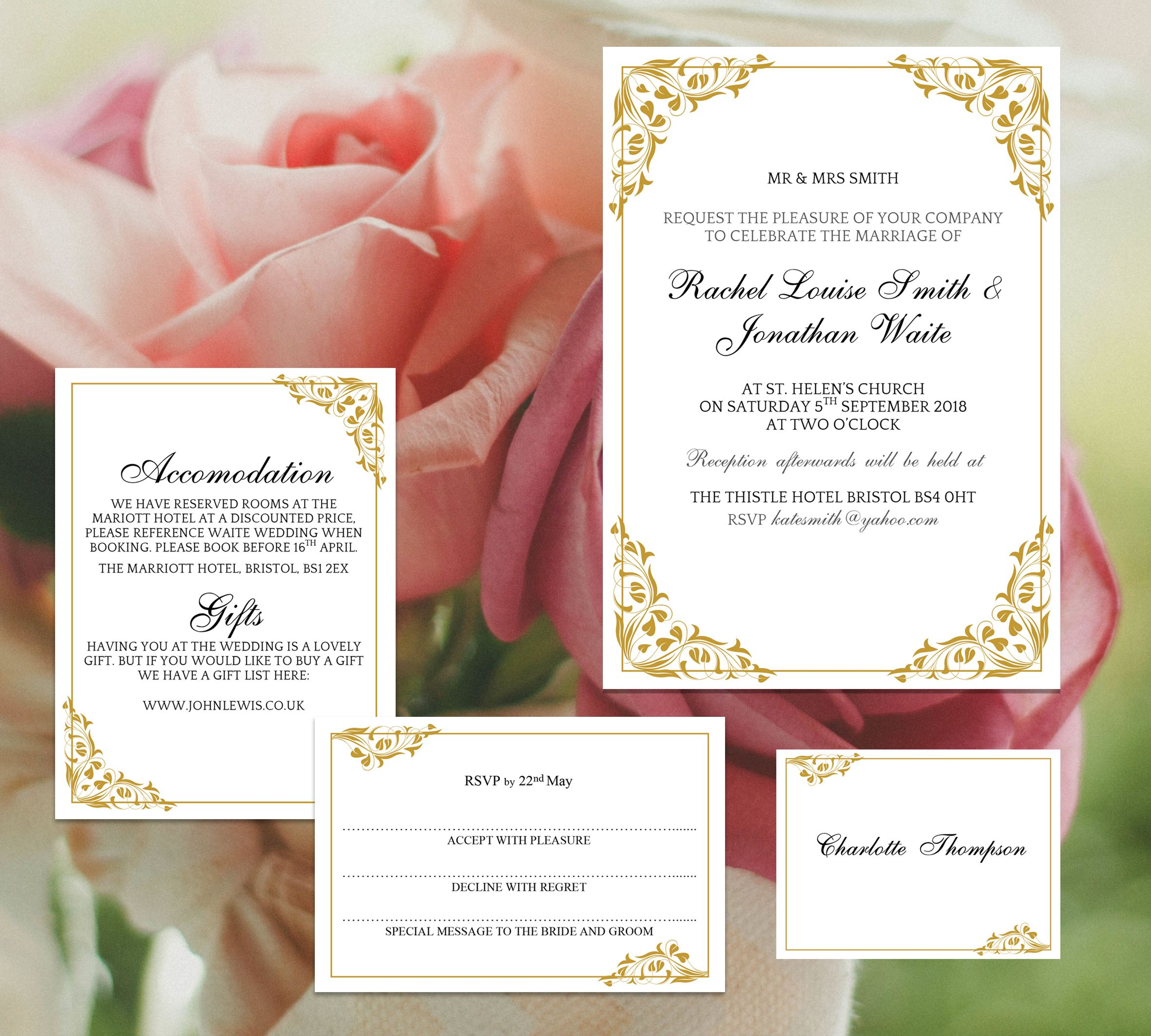 DIY wedding template set Flora, printable and ready to download ...