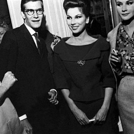 1959 - Yves Saint Laurent and favorite model muse Victoire Doutreleau at  Dior d40b1c048d7