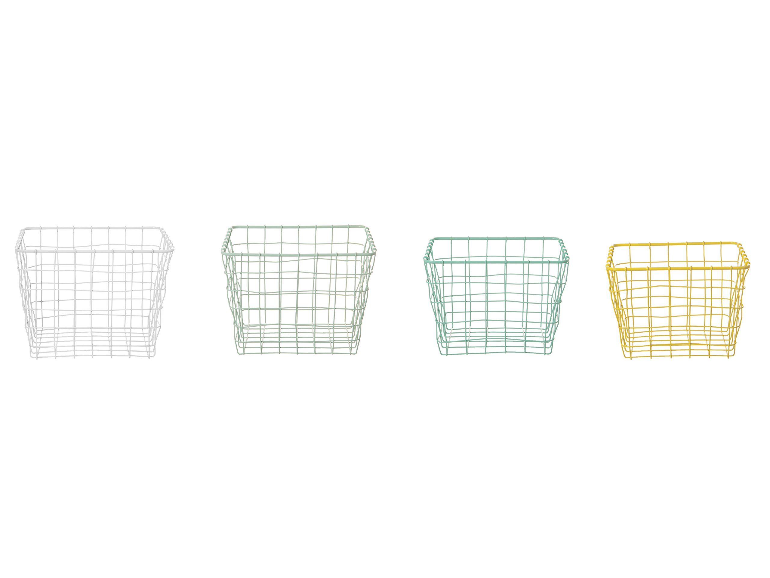 Home Storage Basket Set Linea Square Metal Wire, Bright