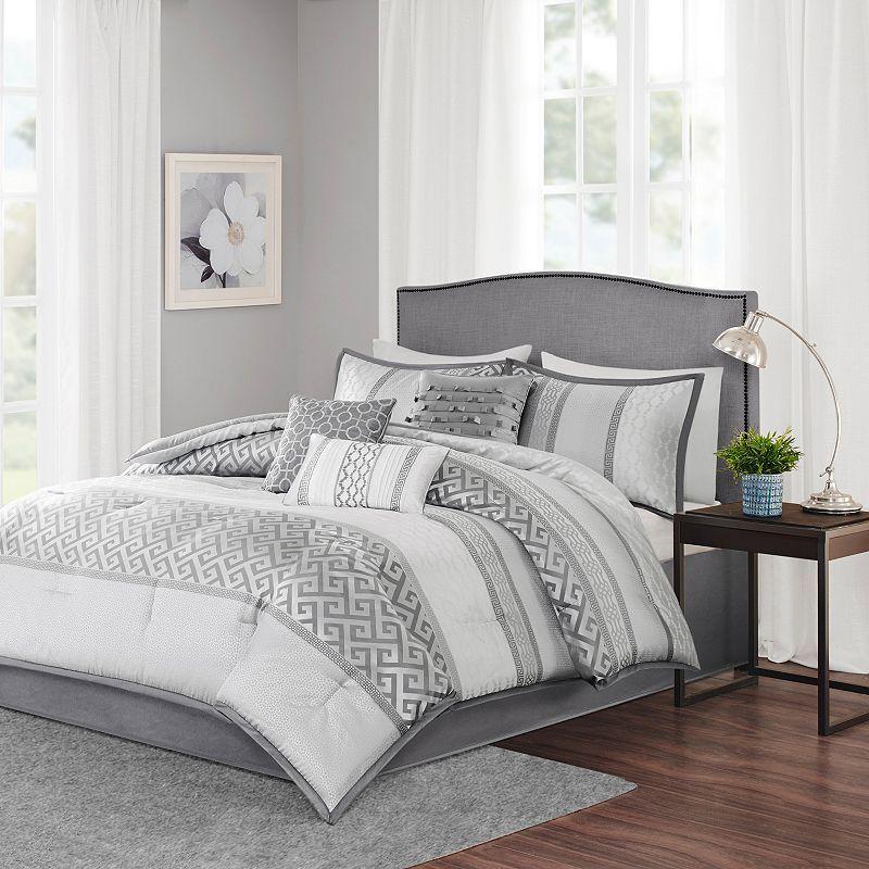 Madison Park Chandler 7 Piece Bed Set Grey Comforter Sets Grey