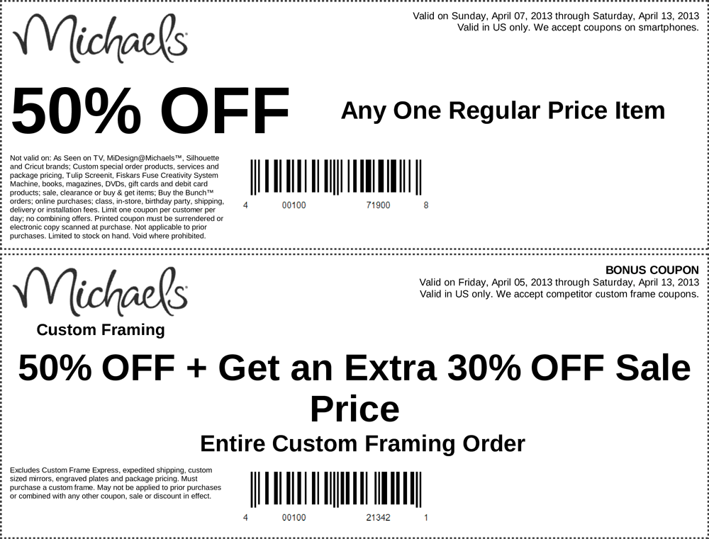 pinned april 7th 50 off a single item and more at michaels coupon via - Michaels Frames Coupons