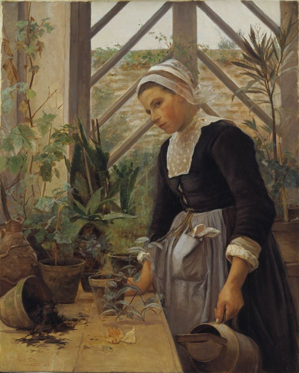 "Anna Petersen (1845-1910), ""Bretagne-pige ordner planter i et drivhus"", 1884.  Statens Museum for Kunst / National Gallery of Denmark. http://www.smk.dk/index.php?id=2362"
