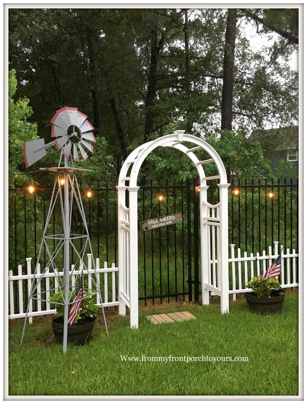Backyard Landscape Windmill Cottage Garden White P White Picket