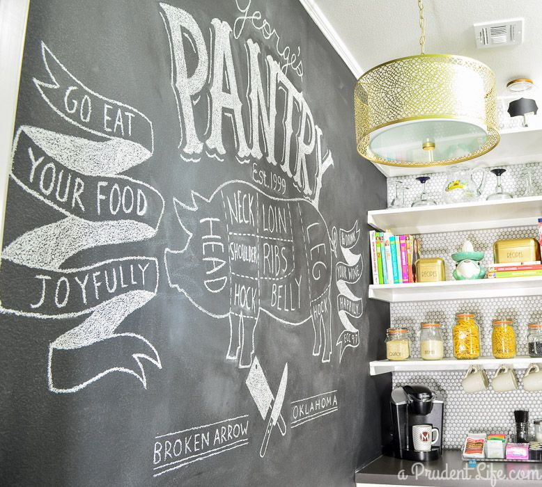 Kitchen Chalkboard Wall Ideas Pantry Makeover Diy Pantry