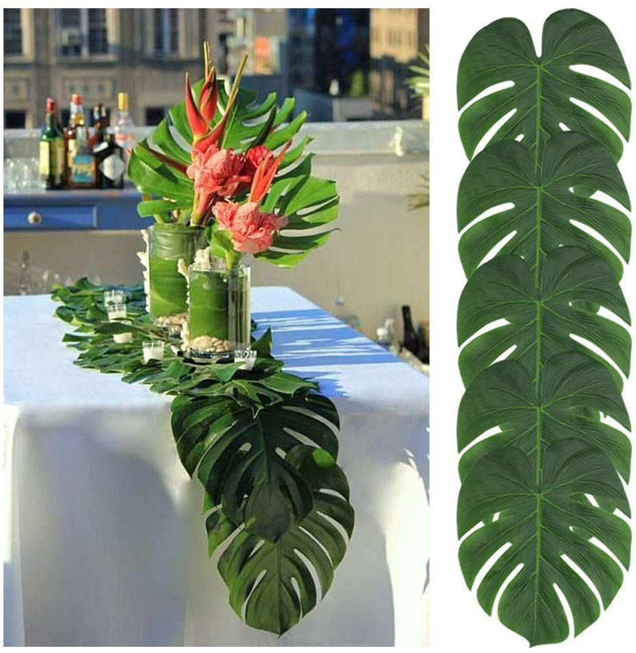 Amazon Com Tianyg 50pcs Artificial Palm Leaves Table Runner 13 8