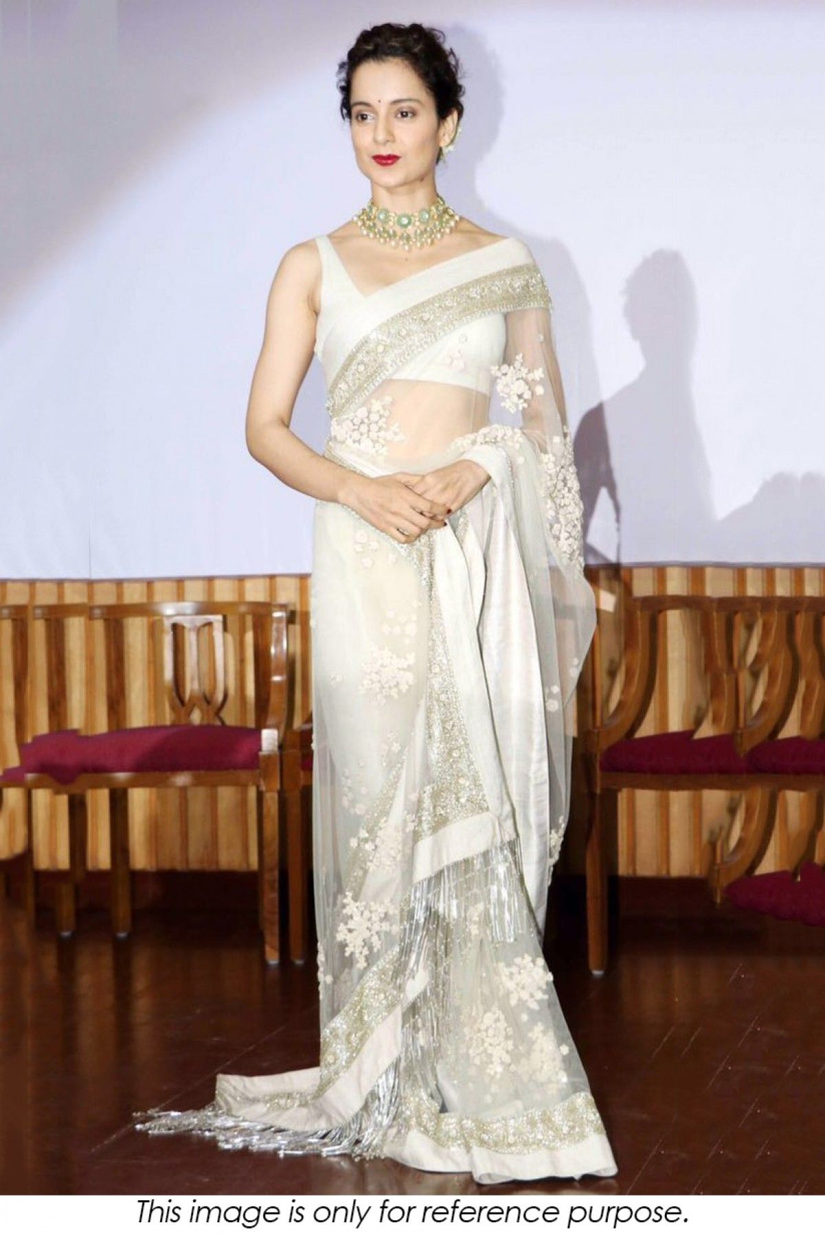 c07d2fc70b Buy Bollywood Style Kangana Ranaut Net Saree In Off White Colour NC3222 for  women @ ninecolours.com. Cash on Delivery Available!