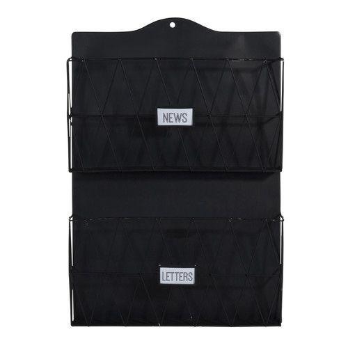 Tijdschriftenrek voor aan de wand, zwart metaal, 35 x 51 cm, BLACK