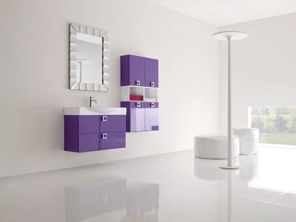 composizione bagno con 2 colonne sospese, lunghezza 85 cm e 70 cm ... - Primula Arredo Bagno