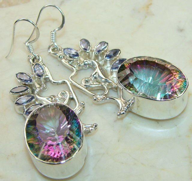 Rainbow Mystic Quartz Earrings : Sterling Silver Mystic Quartz Earrings Supplier
