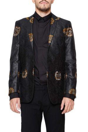 jacket + DENT DE MAN: Black cotton printed blazer from Dent De Man.