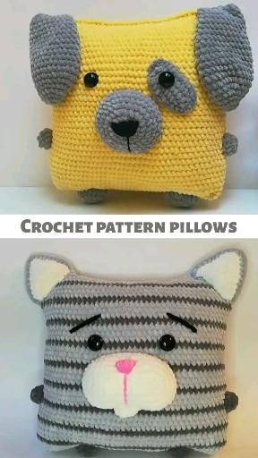 Crochet pattern pillow, crochet cat pattern, crochet dog pattern, amigurumi cat, amigurumi dog, toys