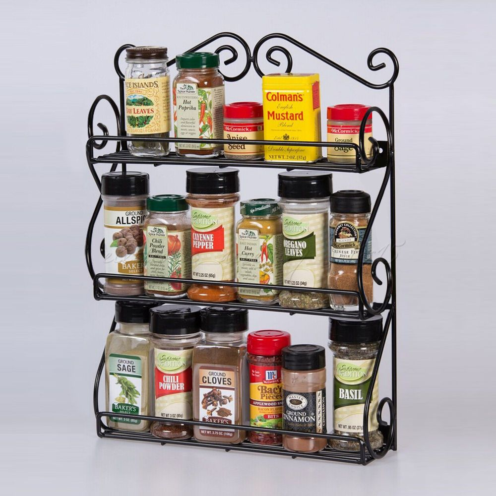 Wall-mounted 3 Tier Spice Rack Organizer for Vitamins Nail
