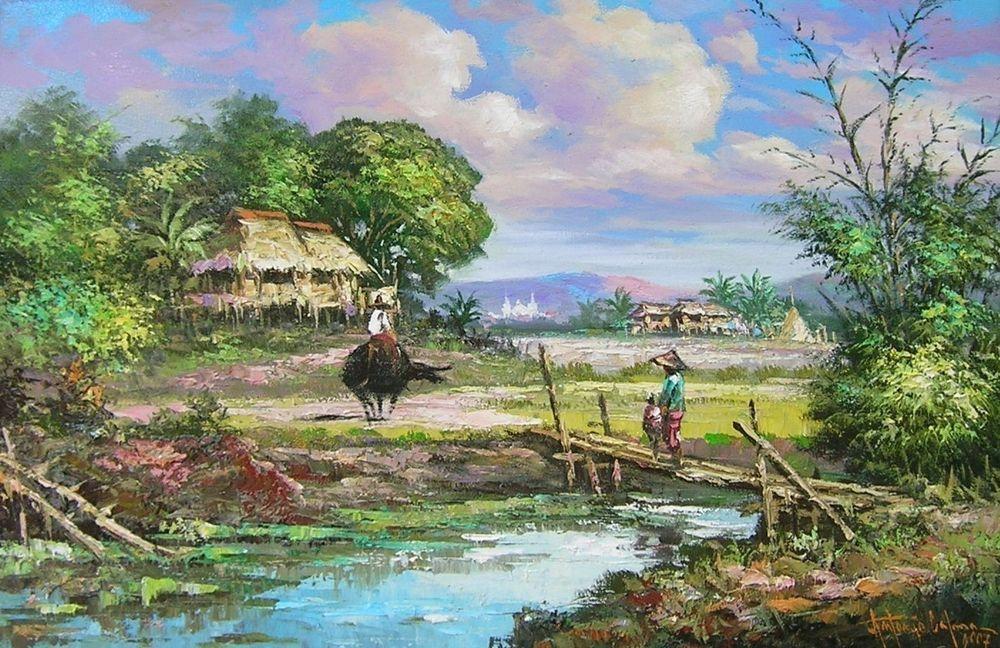 Oscar T. Navarro (1921 1973) well listed Filipino artist