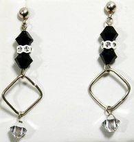 Black & white sq'ed handcrafted Swarovski crystal & sterling silver earrings