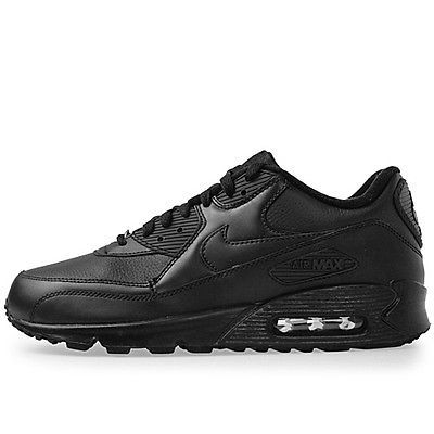 Nike Air Max 90 Leather Mens 302519-001 Black Running Athletic Shoes Size 13