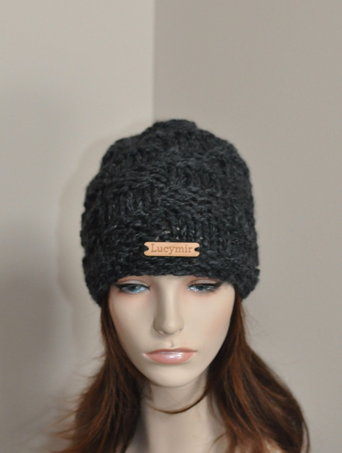 c441bdc7c5b Slouchy Beanie Hat Chunky Slouchy Hat Knitted Women Hat Winter Hat CHOOSE  COLOR Charcoal Dark Gray Chunky Hand Knit Christmas Gift by lucymir on Etsy