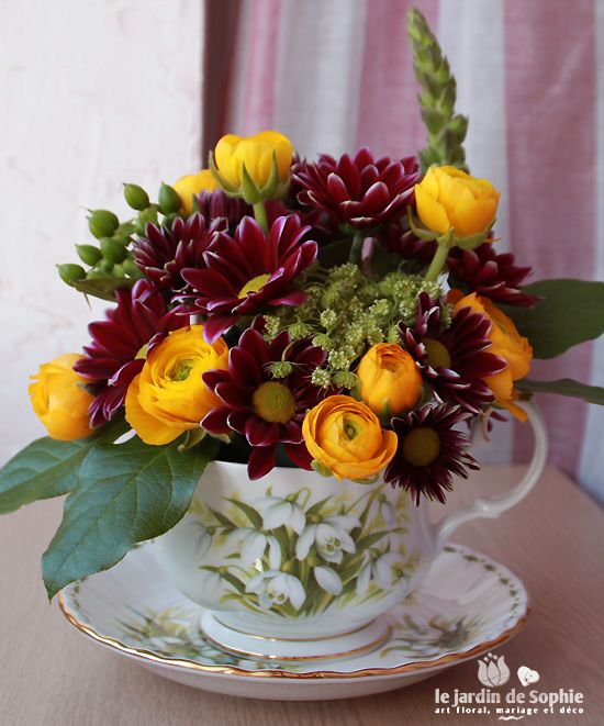 Tasse fleurie art floral pinterest fleuri tasse et for Envoi bouquet