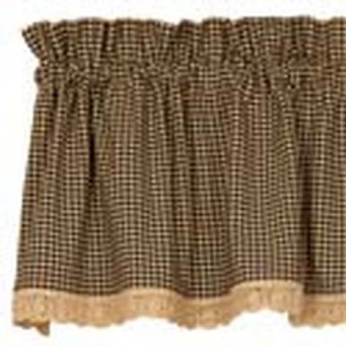 New BLACK TAN GINGHAM CHECK Curtain Window Valance Swag ...