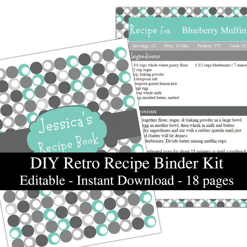 Retro Turquoise Printable Recipe Book Template Editable