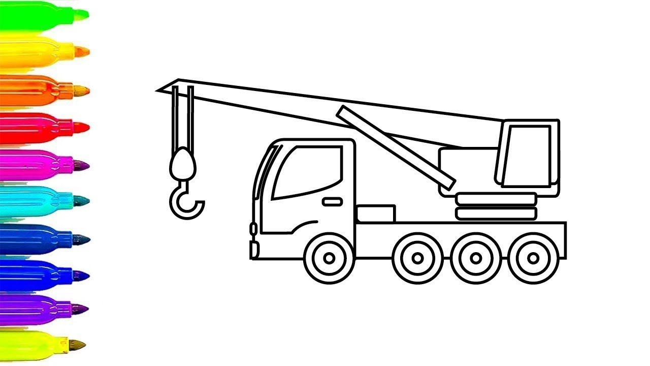 Learn Colors with Construction Truck Coloring Pages, Crane Truck ...