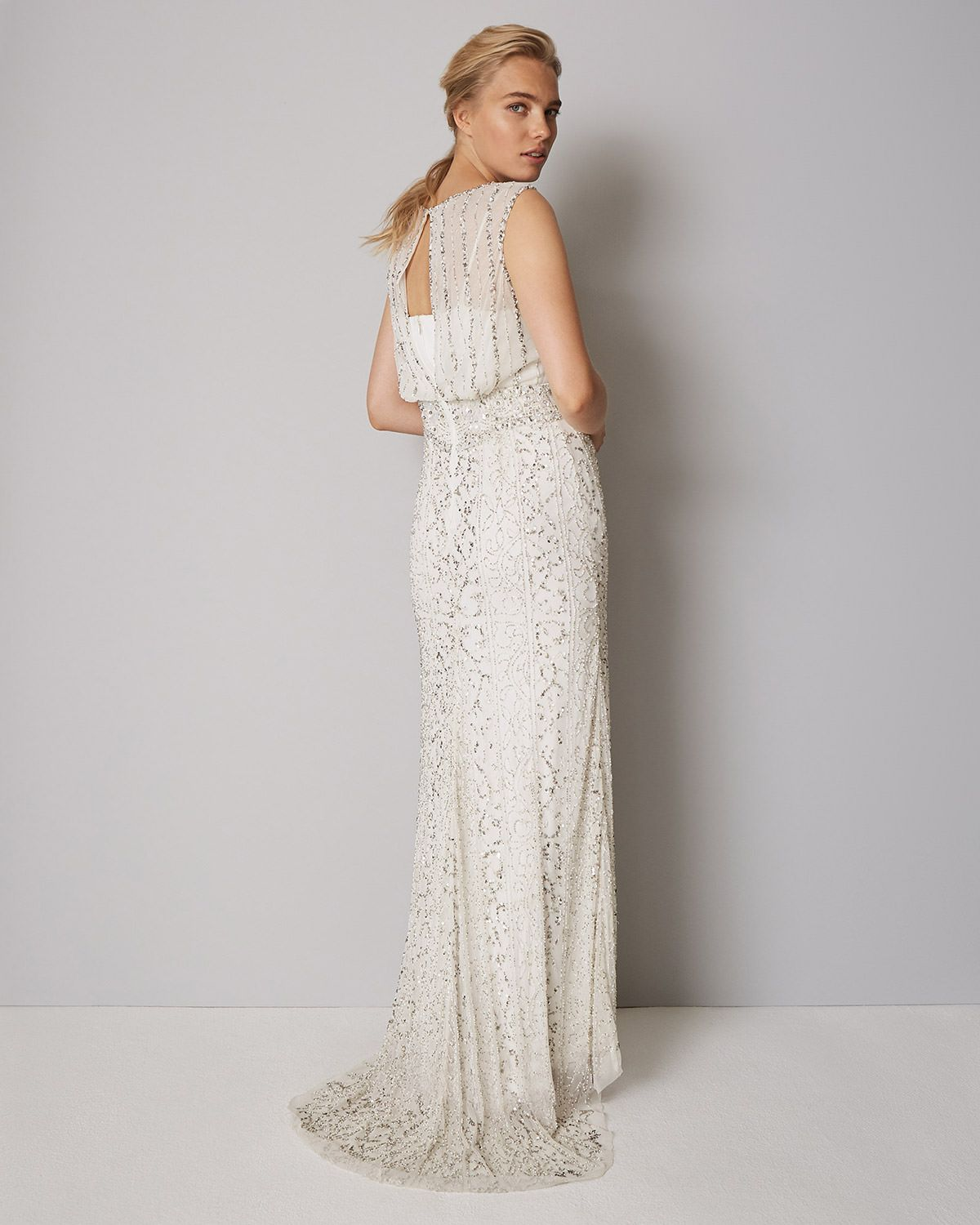 Long Beaded Wedding Dress Hope Wedding Dress In Ivory Phase