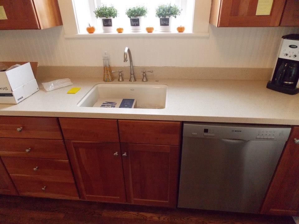 After Corian Countertop In Fossil Sink Faucet By Kohler