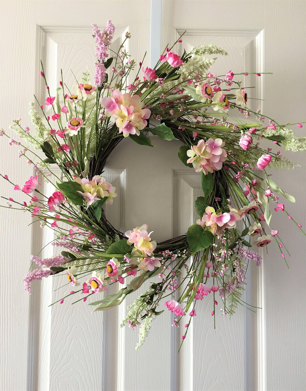 Spring Flower Wreath For Front Door