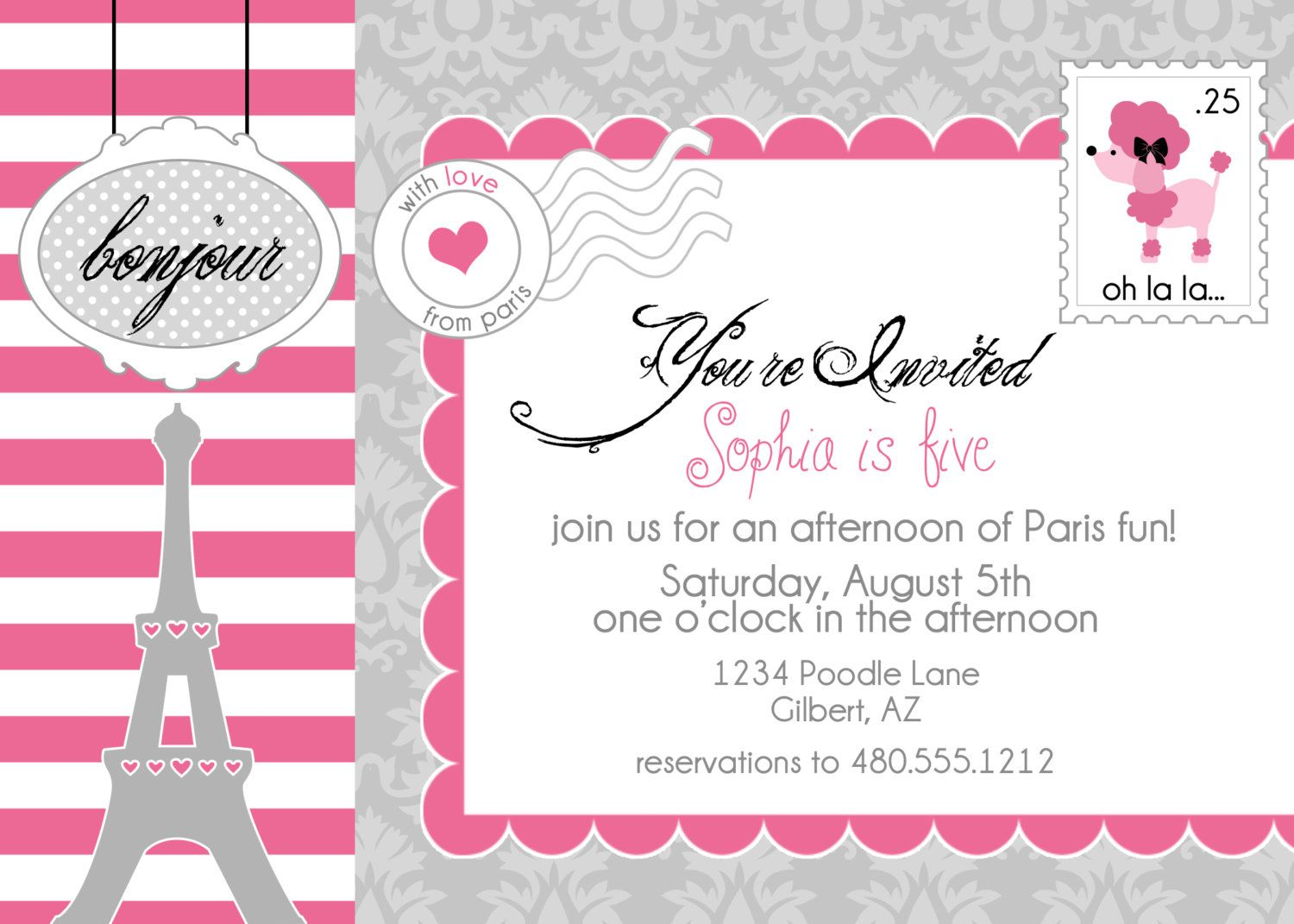 PRINTABLE PARTY INVITATION - Poodles in Paris Birthday Collection ...