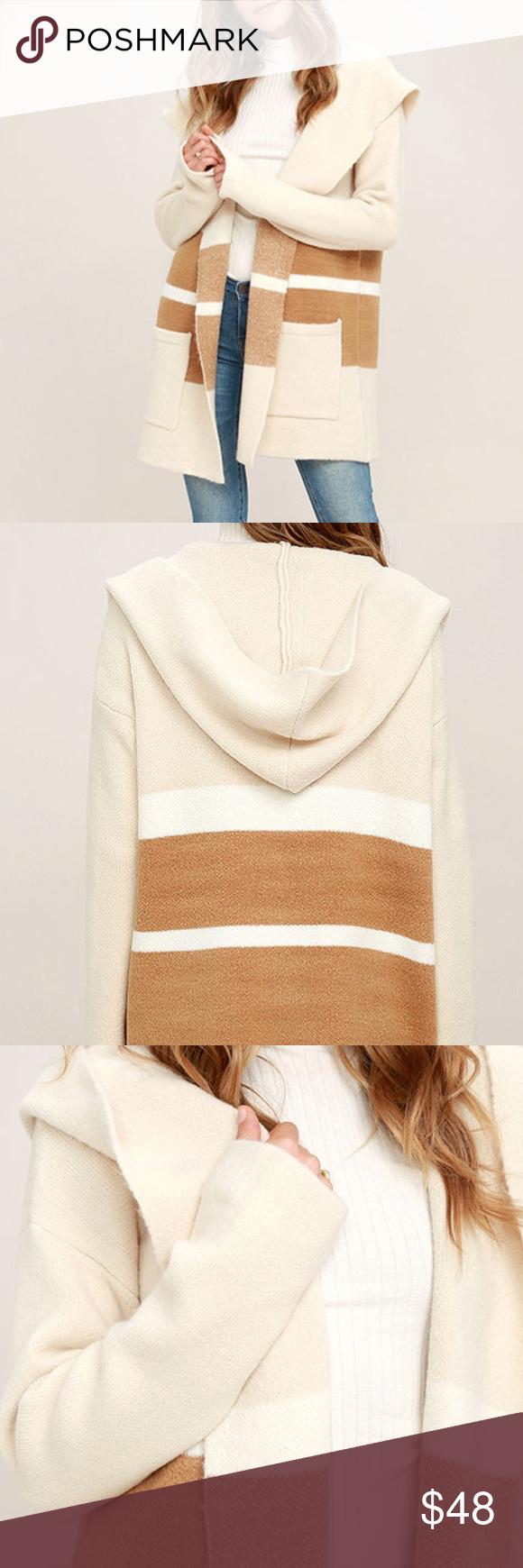 Carlsbad tan and beige hooded cardigan sweater | Hooded cardigan ...