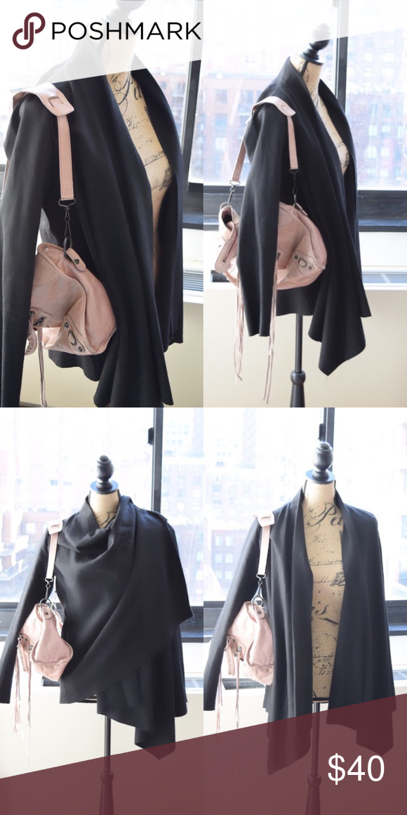 Staring at Stars Wool Cardigan Jacket Beautiful black wool cardigan by Staring at Stars, an Anthropologie / Urban Outfitters brand. Great condition. Can be worn open, belted, or wrapped. Waterfall shape. Heavier blazer suitable for winter. Anthropologie Jackets & Coats Blazers