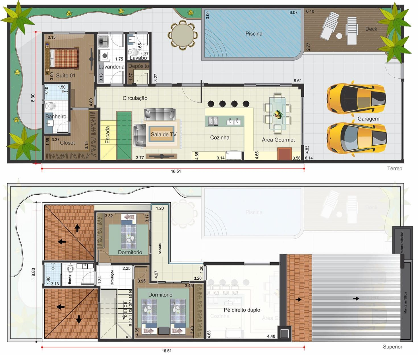 casa con las habitaciones de la planta baja. plano para terreno