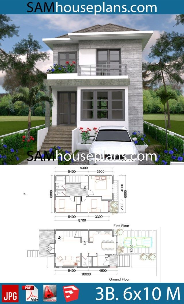 House Plans 6x10 with 3 Bedrooms is part of House plans - We give you all the files, so you can edited by your self or your Architect, Contractor  In link download ground floor, first floor, elevation jpg, 3d photo Sketchup file Autocad file (All Layout plan)